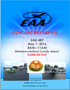 EAA Chapter 489 will have a pancake breakfast and fly-in on May 7, 2016 at the Statesboro Bulloch