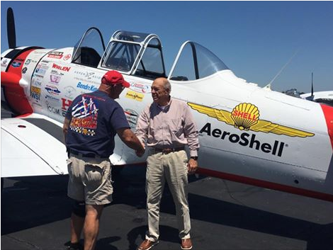 Mr. Fordham, a member of Aeroshell Team visits Statesboro-Bulloch County Airport